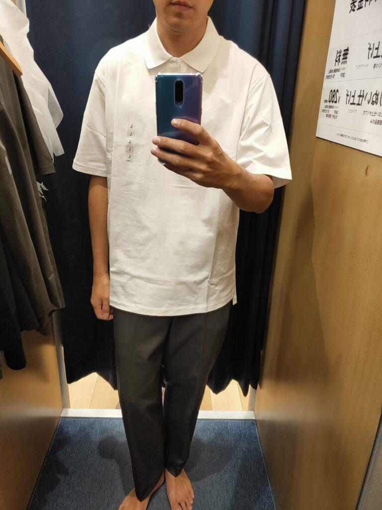 2021ssjリラックスフィットポロシャツのホワイトL前