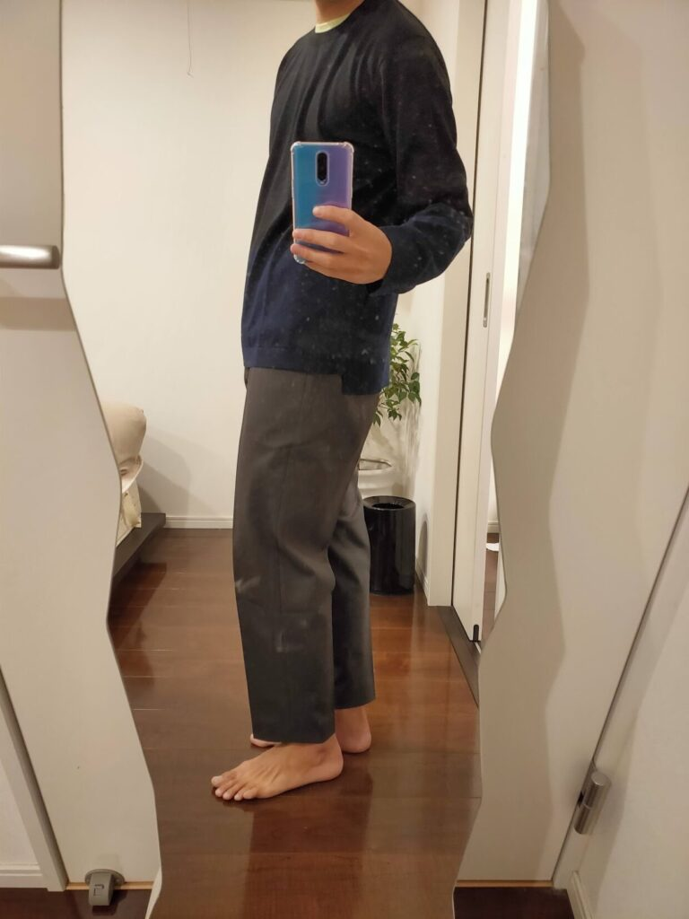 2021ssjシルクコットンクルーネックセーターのワイドテーパード横