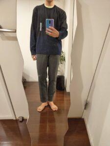 2021ssjシルクコットンクルーネックセーターのスラックス前