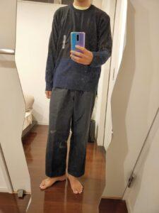 2021ssjシルクコットンクルーネックセーターのワイドパンツ前