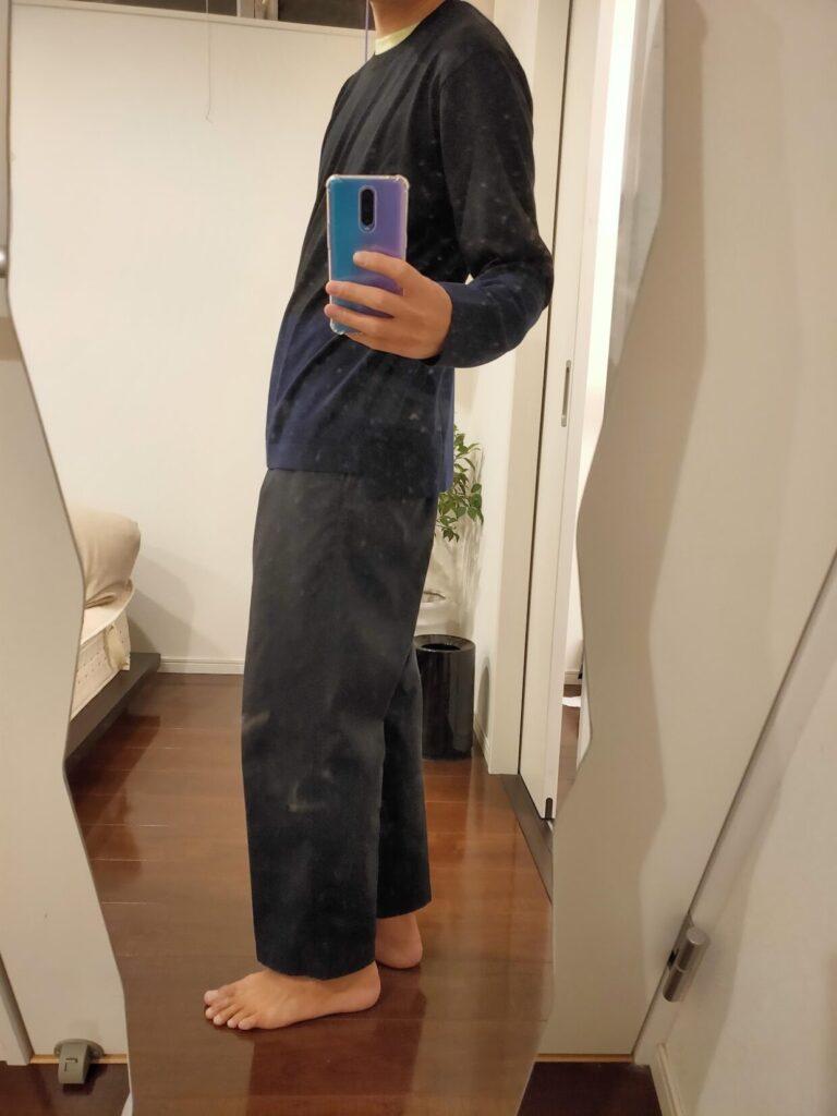 2021ssjシルクコットンクルーネックセーターのワイドパンツ横