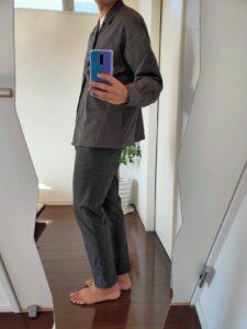 2021ssjスーピマコットンオーバーサイズシャツブルゾンのスラックスコーデ2