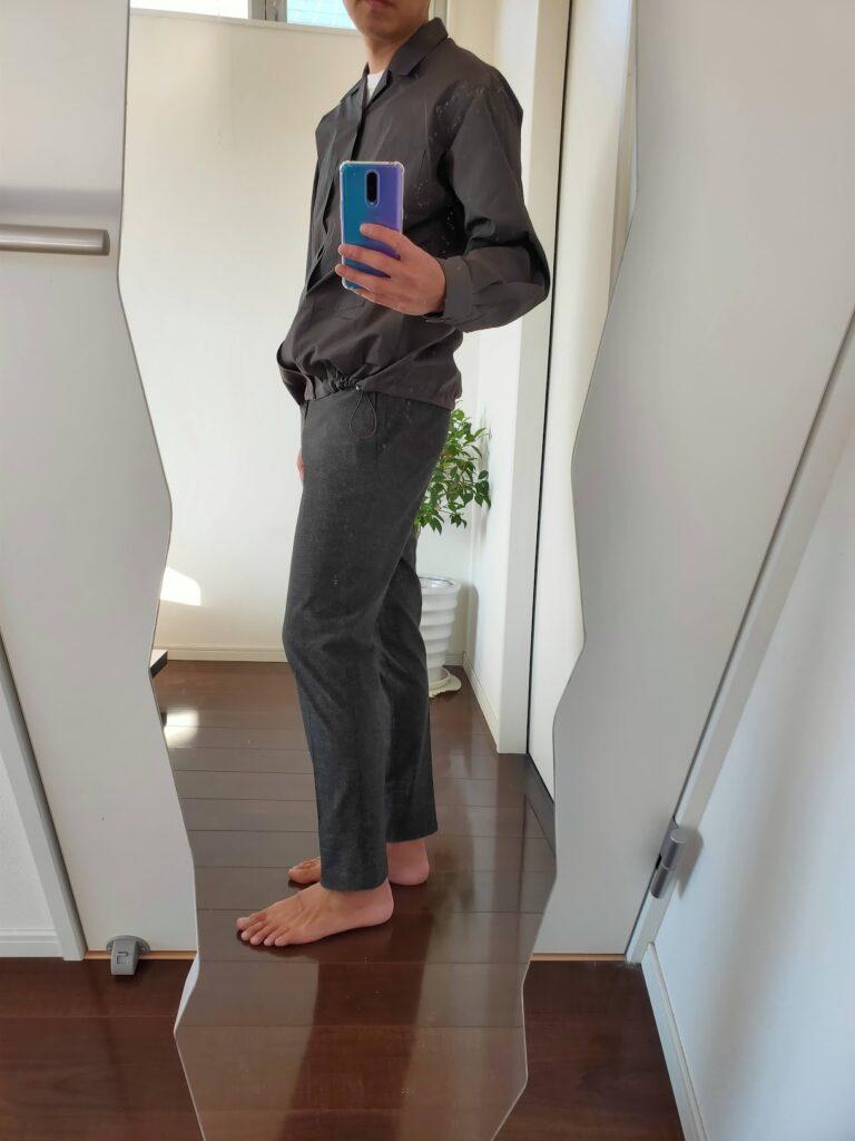 2021ssjスーピマコットンオーバーサイズシャツブルゾンのスラックスコーデ5