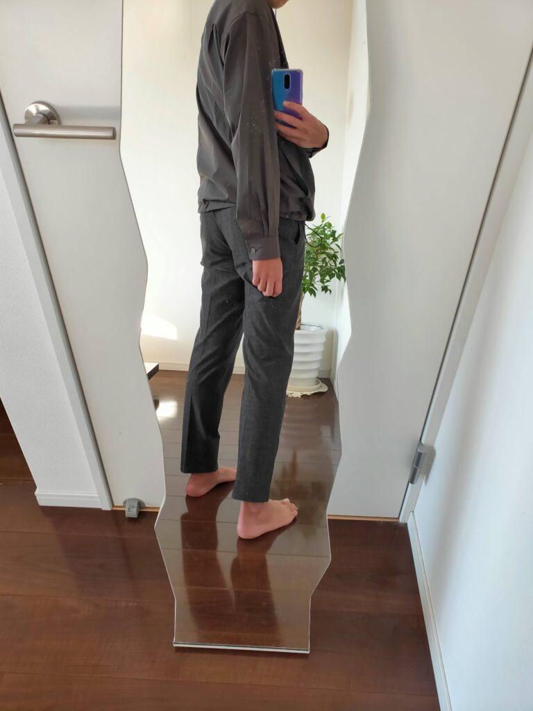 2021ssjスーピマコットンオーバーサイズシャツブルゾンのスラックスコーデ6