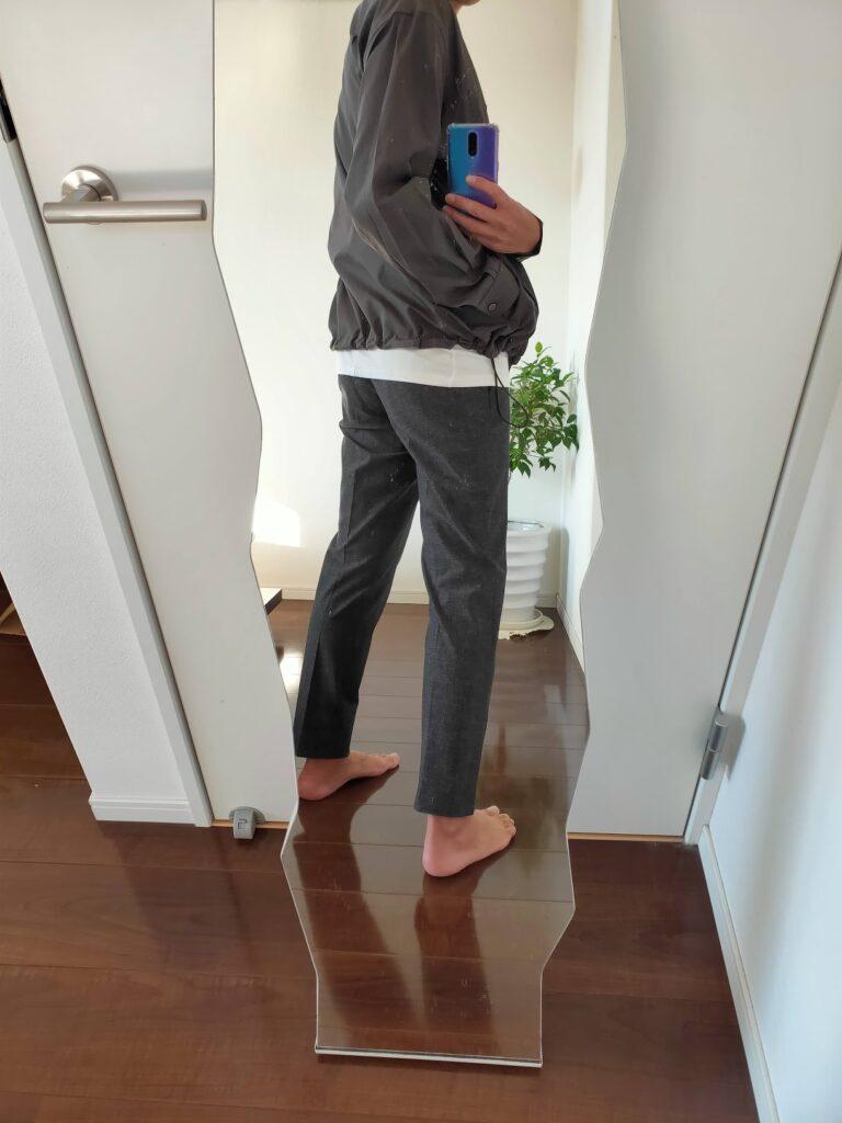 2021ssjスーピマコットンオーバーサイズシャツブルゾンのワイドテーパードパンツコーデ1