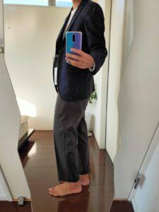2021ssjウールテーラードジャケット(ストライプ) のワイドパンツ横