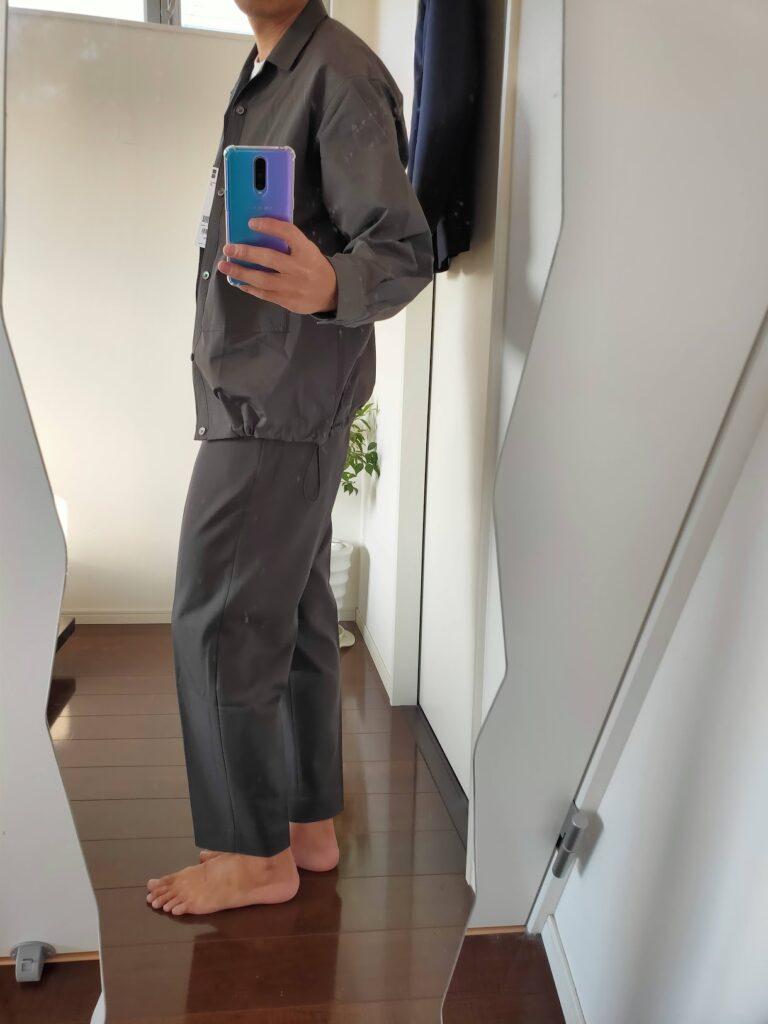 2021ssjスーピマコットンオーバーサイズシャツブルゾンのワイドテーパードパンツコーデ2