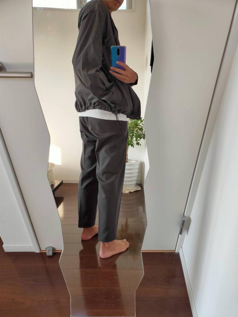 2021ssjスーピマコットンオーバーサイズシャツブルゾンのワイドテーパードパンツコーデ3