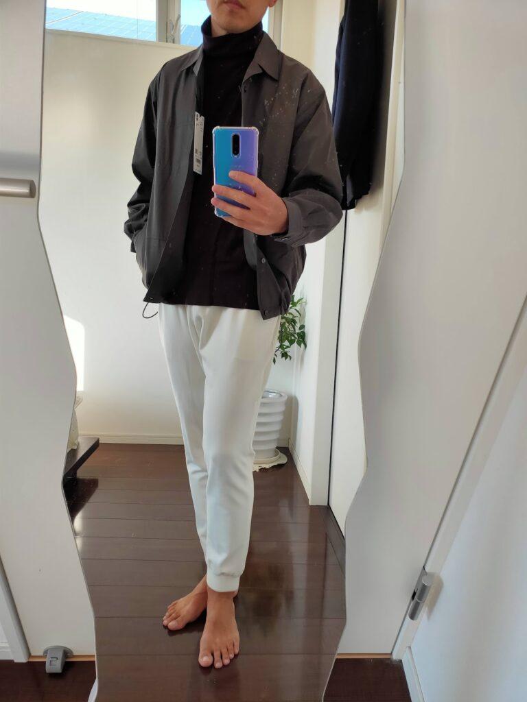2021ssjスーピマコットンオーバーサイズシャツブルゾンのジョガーパンツコーデ1