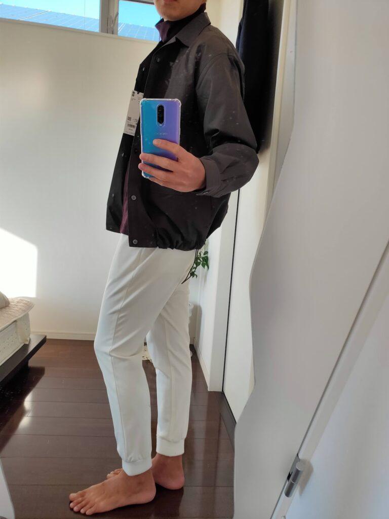 2021ssjスーピマコットンオーバーサイズシャツブルゾンのジョガーパンツコーデ2