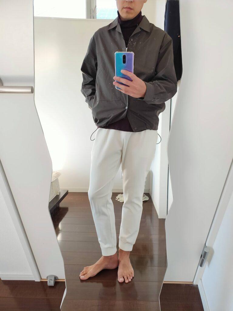 2021ssjスーピマコットンオーバーサイズシャツブルゾンのジョガーパンツコーデ4