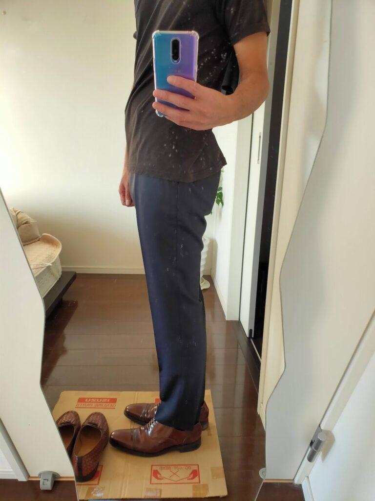 2021ssjウールスリムフィットパンツストライプの革靴2