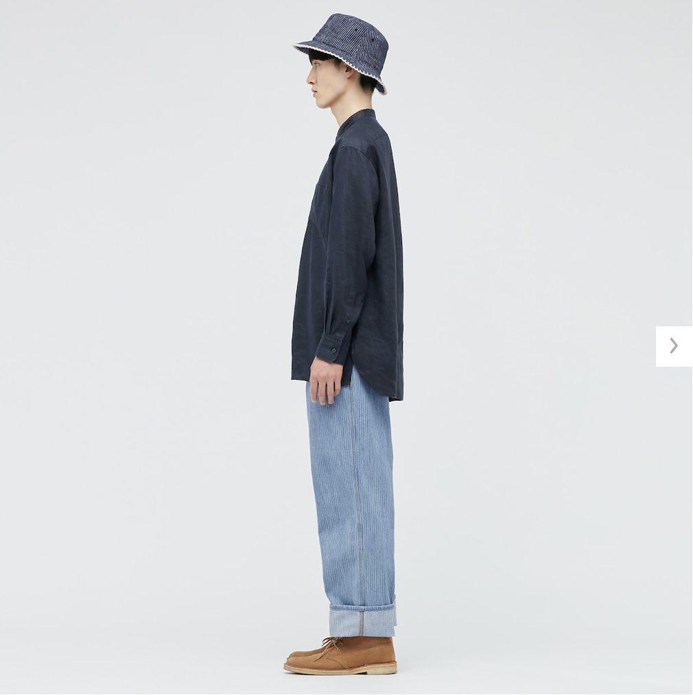 2021SSJWアンダーソンプレミアムリネンオーバーサイズスタンドカラーシャツのスタイル3