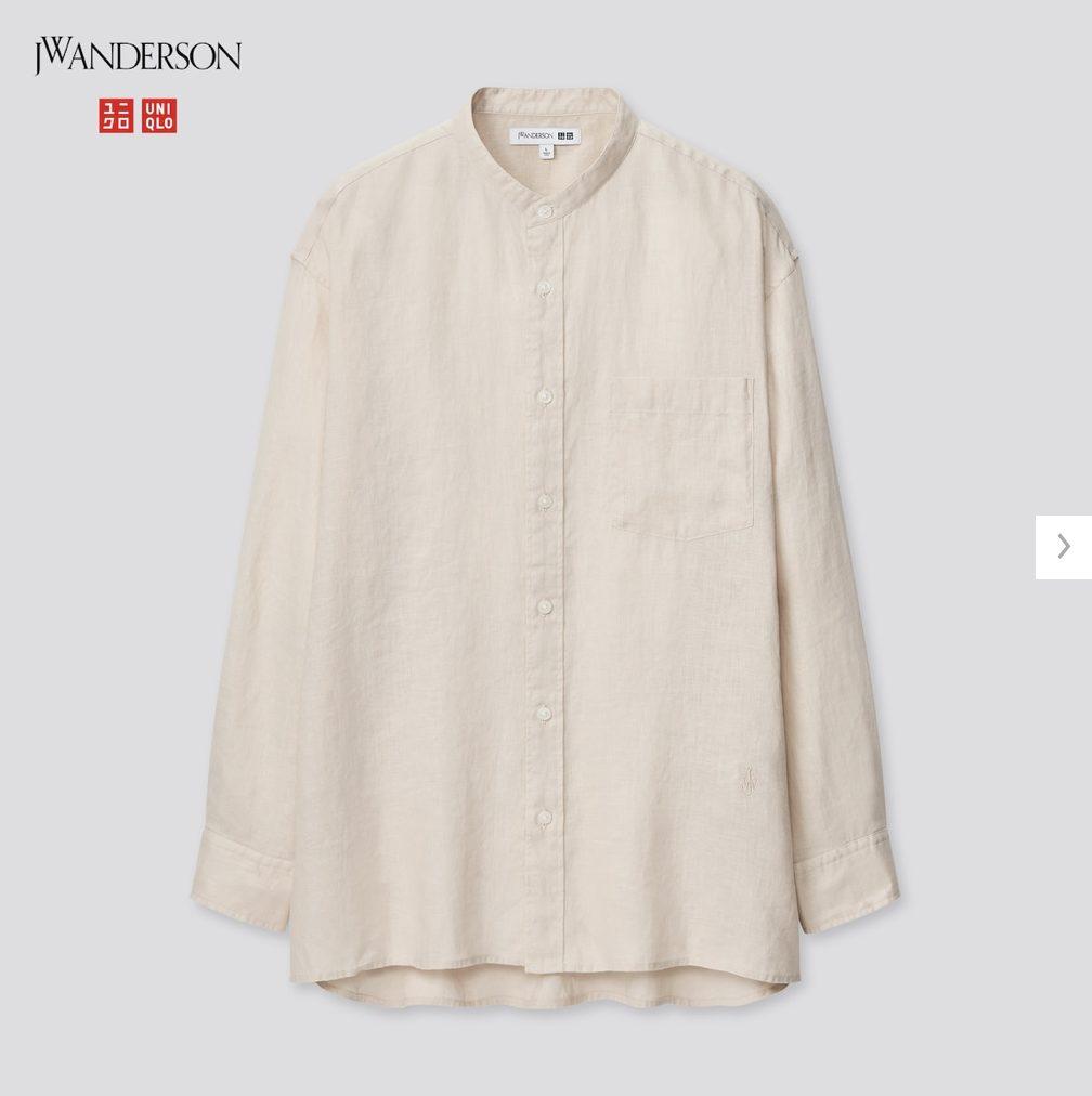 2021SSJWアンダーソンプレミアムリネンオーバーサイズスタンドカラーシャツのスタイル4