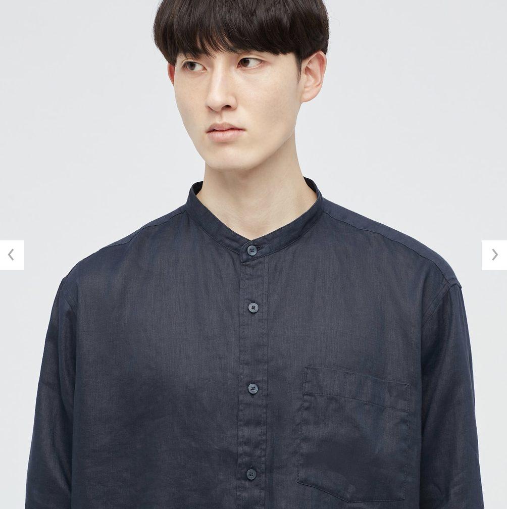2021SSJWアンダーソンプレミアムリネンオーバーサイズスタンドカラーシャツのスタイル1