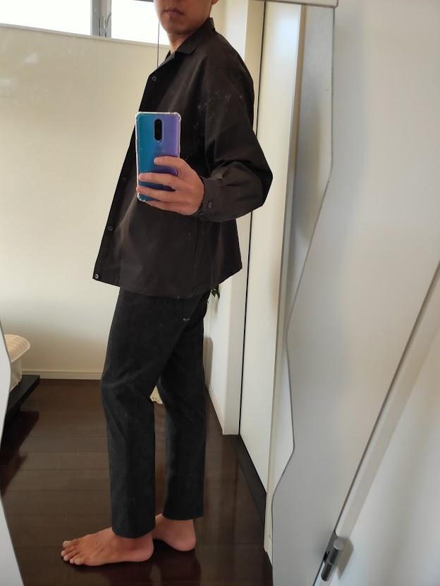 2021ssjスーピマコットンオーバーサイズシャツブルゾンLのスラックスコーデ2