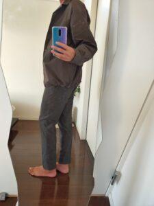 2021ssjスーピマコットンオーバーサイズシャツブルゾンLのスラックスコーデ5