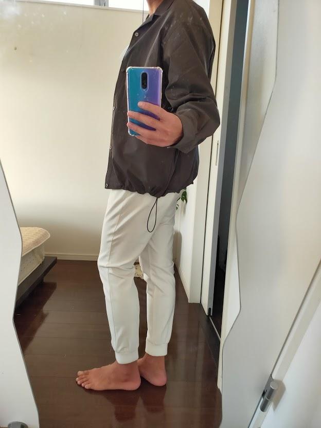 2021ssjスーピマコットンオーバーサイズシャツブルゾンLのジョガーパンツコーデ1