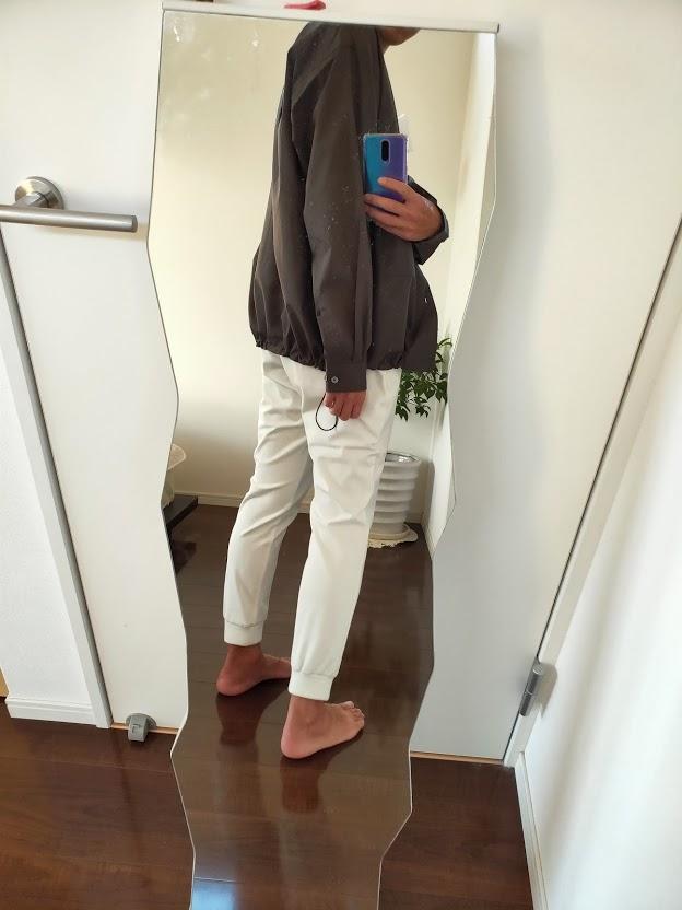 2021ssjスーピマコットンオーバーサイズシャツブルゾンLのジョガーパンツコーデ2
