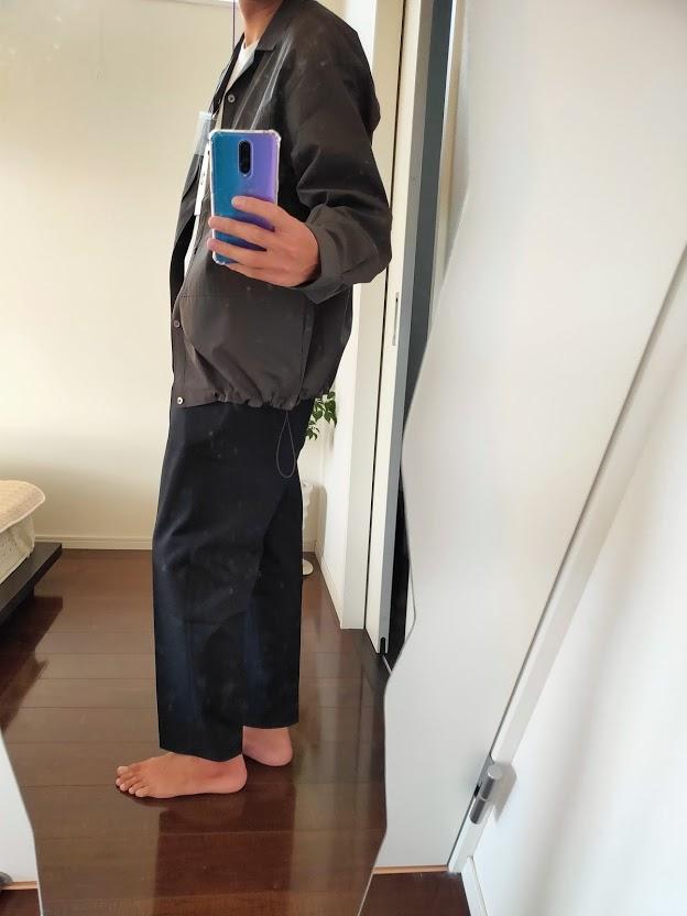 2021ssjスーピマコットンオーバーサイズシャツブルゾンLのワイドパンツコーデ2