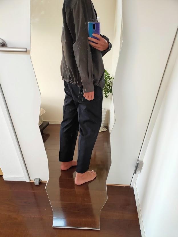 2021ssjスーピマコットンオーバーサイズシャツブルゾンLのワイドパンツコーデ3