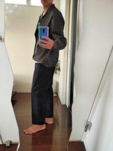 2021ssjスーピマコットンオーバーサイズシャツブルゾンLのワイドパンツコーデ5