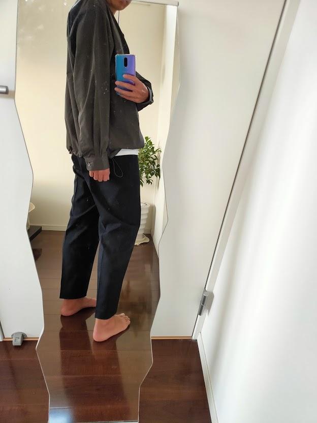 2021ssjスーピマコットンオーバーサイズシャツブルゾンLのワイドパンツコーデ6