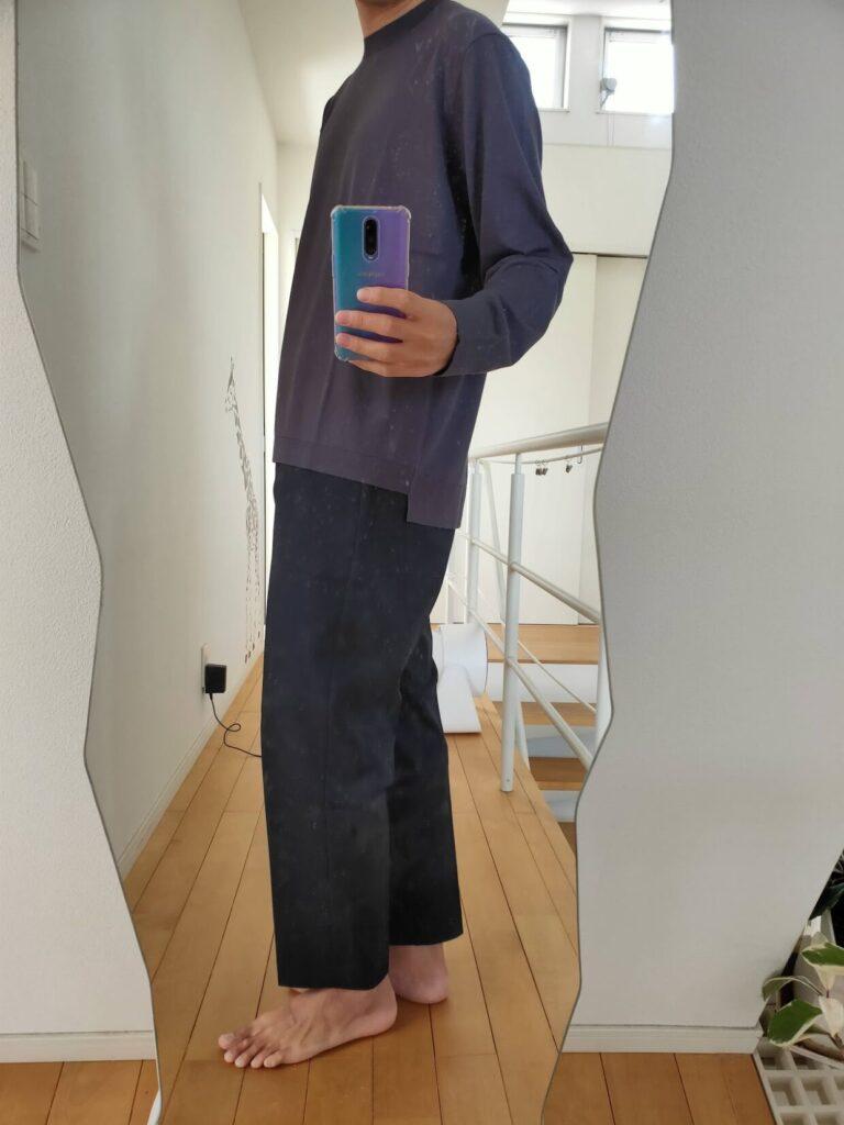 2021ssjシルクコットンクルーネックセーター無地のワイドパンツ横