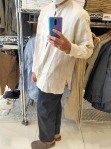 2021SSJWアンダーソンプレミアムリネンオーバーサイズスタンドカラーシャツのベージュL横