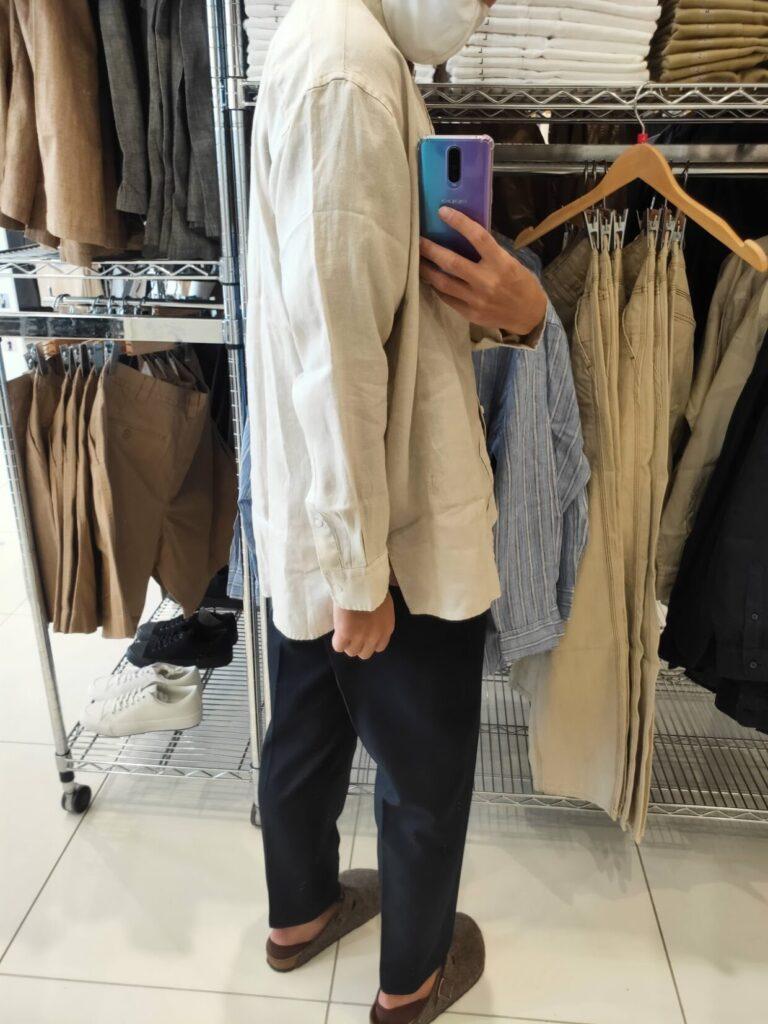 2021SSJWアンダーソンプレミアムリネンオーバーサイズスタンドカラーシャツのベージュL後ろ
