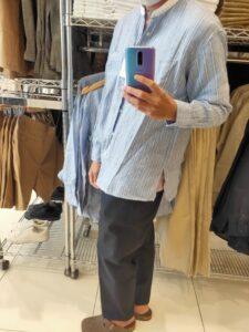 2021SSJWアンダーソンプレミアムリネンオーバーサイズストライプスタンドカラーシャツのブルーM横