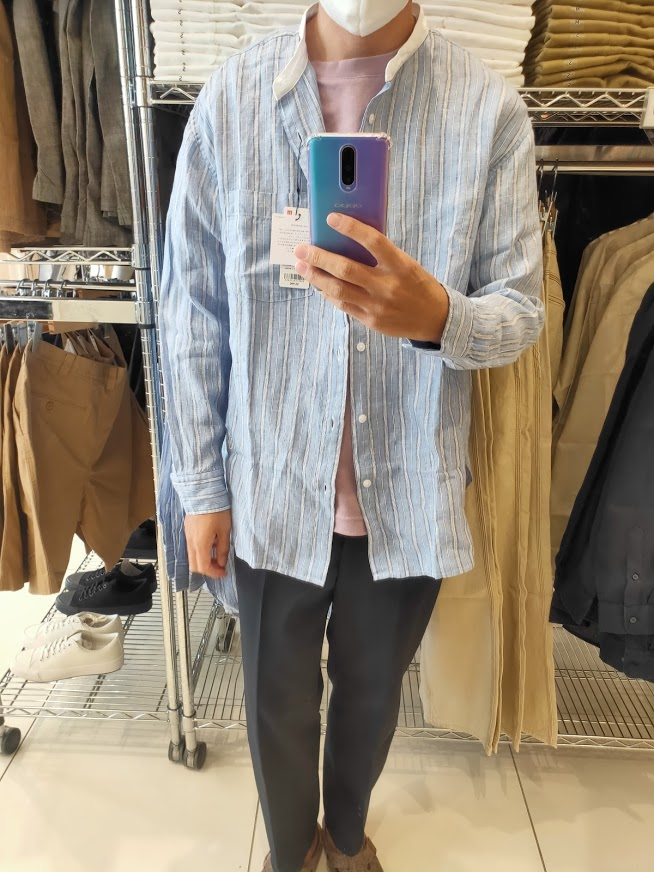 2021SSJWアンダーソンプレミアムリネンオーバーサイズストライプスタンドカラーシャツのブルーL前