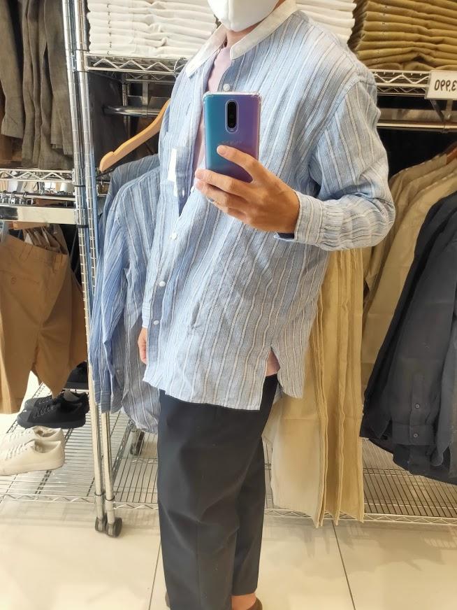 2021SSJWアンダーソンプレミアムリネンオーバーサイズストライプスタンドカラーシャツのブルーL横