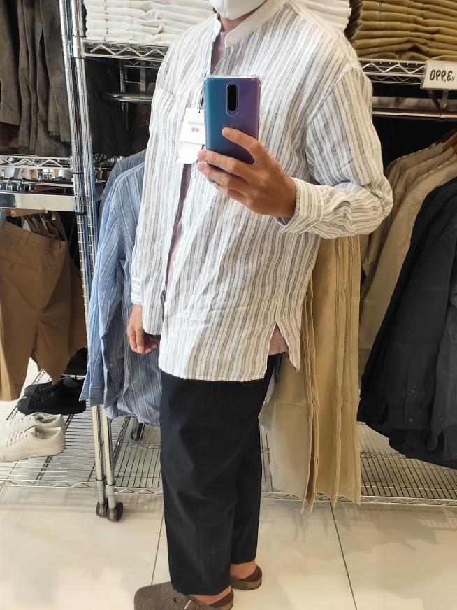 2021SSJWアンダーソンプレミアムリネンオーバーサイズストライプスタンドカラーシャツのホワイトM横