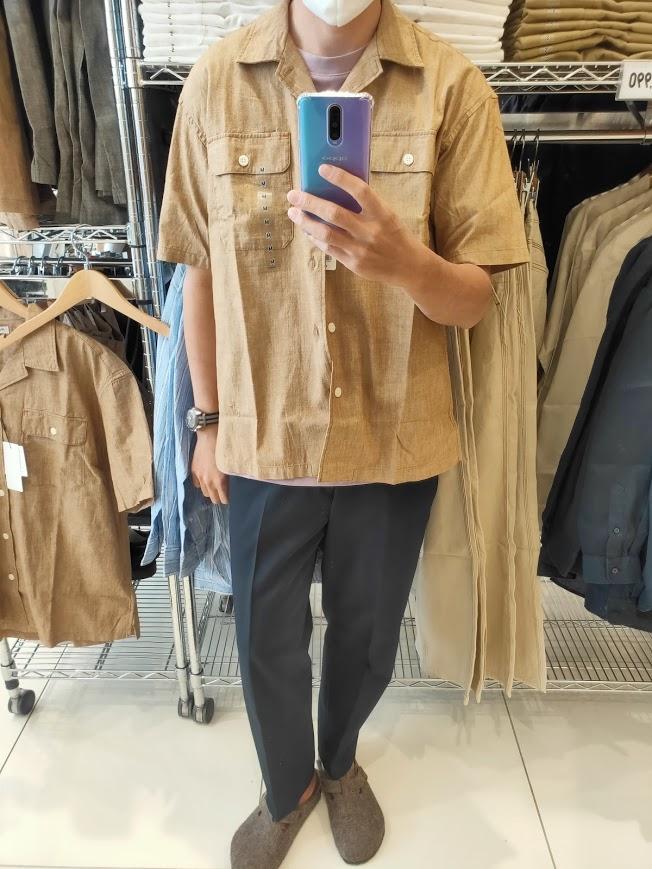 2021SSJWアンダーソンシャンブレーオーバーサイズワークシャツのブラウンM前