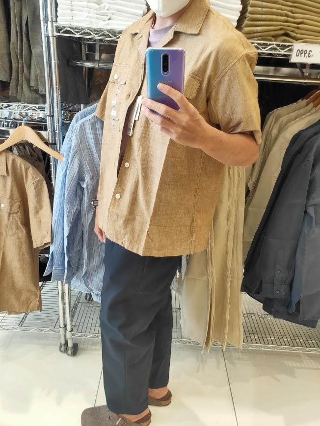 2021SSJWアンダーソンシャンブレーオーバーサイズワークシャツのブラウンM横