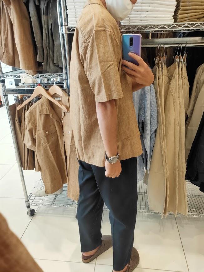 2021SSJWアンダーソンシャンブレーオーバーサイズワークシャツのブラウンL後ろ