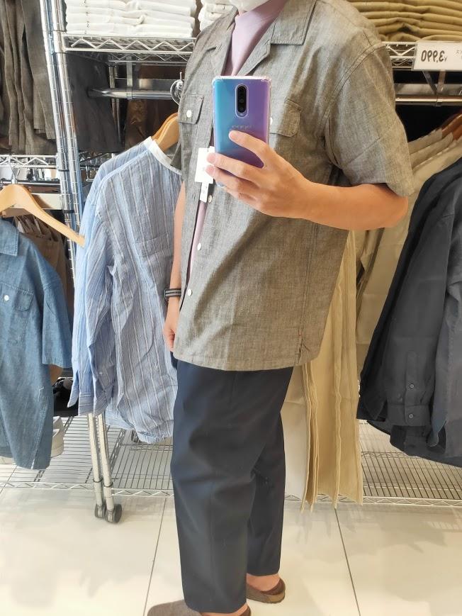 2021SSJWアンダーソンシャンブレーオーバーサイズワークシャツのオリーブM横