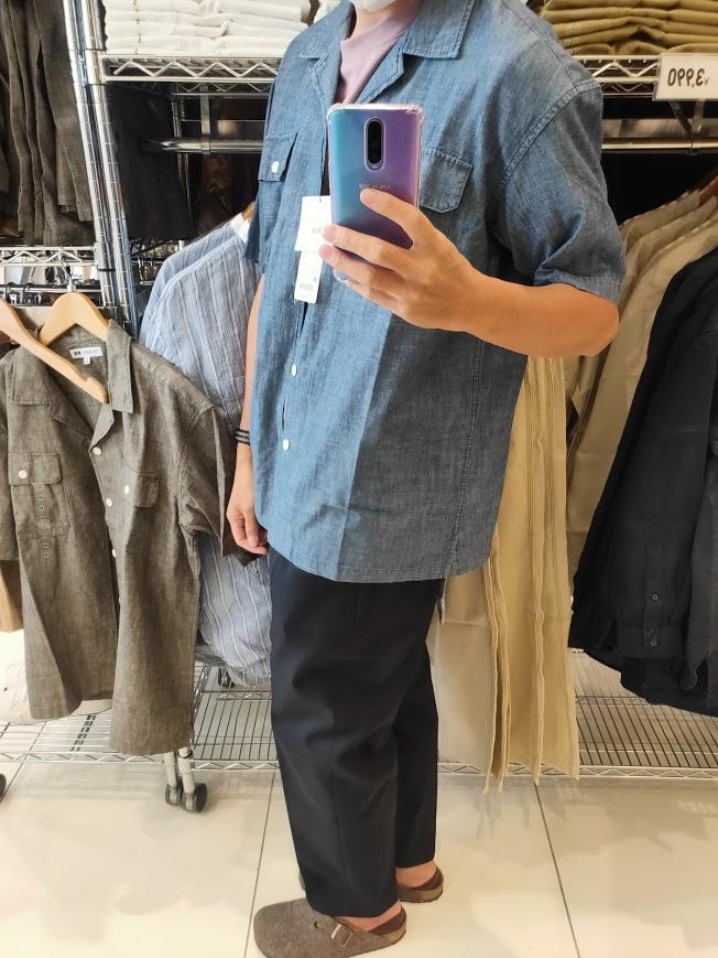 2021SSJWアンダーソンシャンブレーオーバーサイズワークシャツのブルーM横