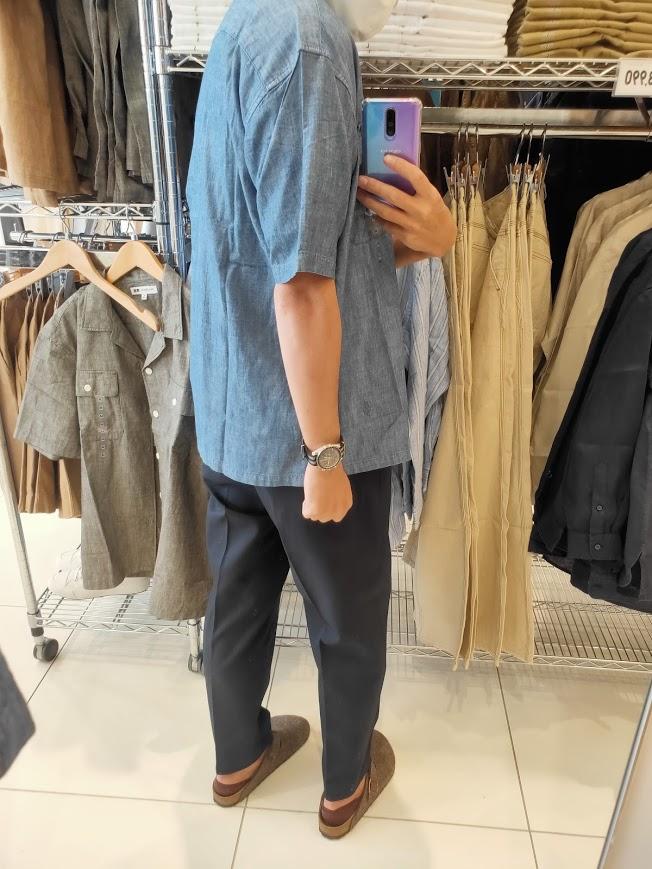 2021SSJWアンダーソンシャンブレーオーバーサイズワークシャツのブルーM後ろ