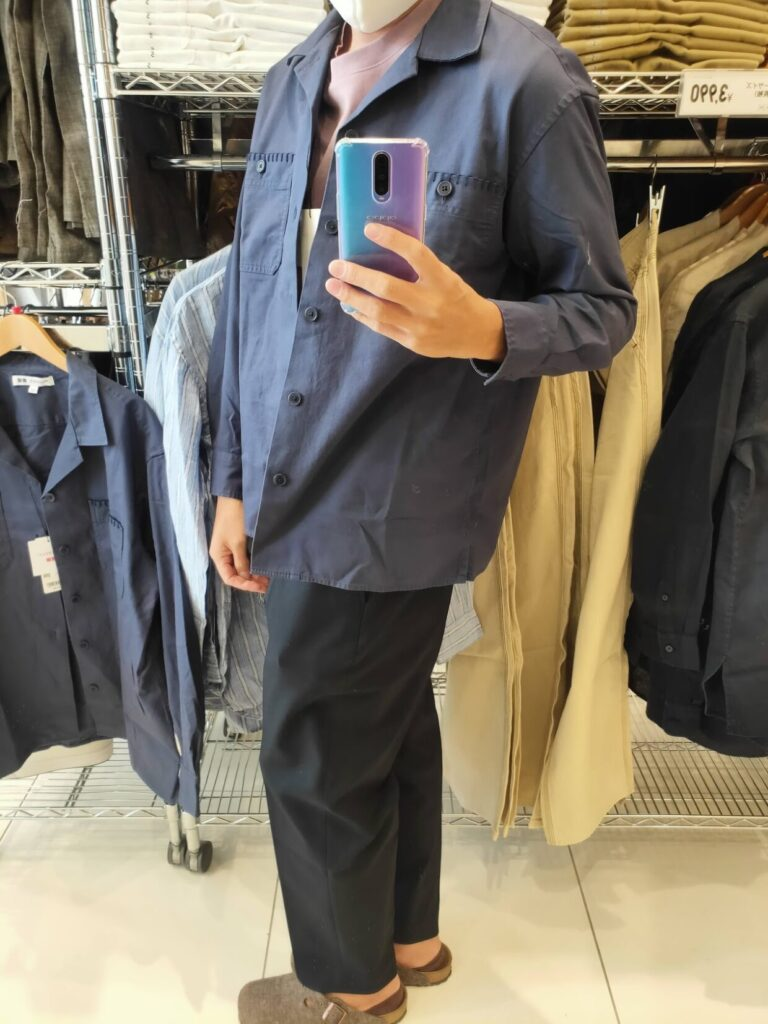 2021SSJWアンダーソンツイルオーバーサイズワークシャツのブルーM横