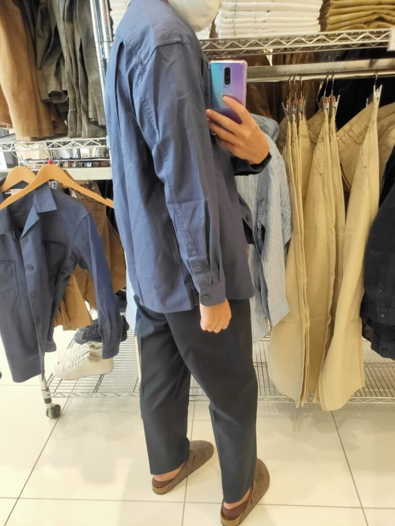2021SSJWアンダーソンツイルオーバーサイズワークシャツのブルーL後ろ