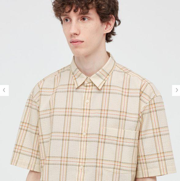 2021SSJWアンダーソンシアサッカーオーバーサイズチェックシャツのスタイル4