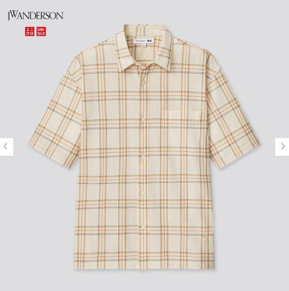 2021SSJWアンダーソンシアサッカーオーバーサイズチェックシャツのスタイル5