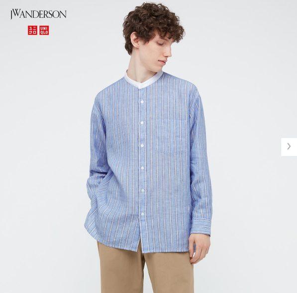 2021SSJWアンダーソンプレミアムリネンオーバーサイズストライプスタンドカラーシャツのスタイル5