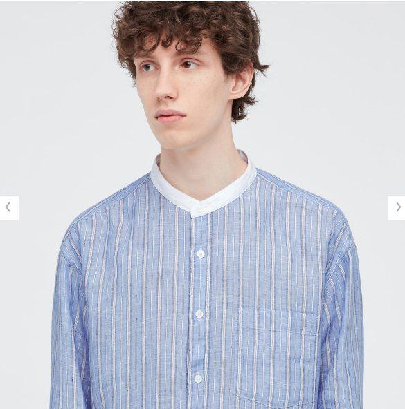 2021SSJWアンダーソンプレミアムリネンオーバーサイズストライプスタンドカラーシャツのスタイル1