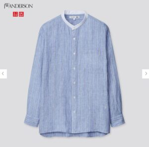 2021SSJWアンダーソンプレミアムリネンオーバーサイズストライプスタンドカラーシャツのスタイル2
