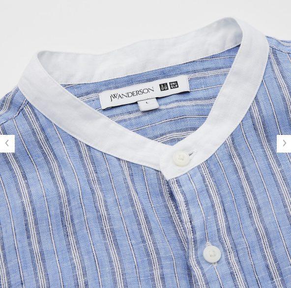 2021SSJWアンダーソンプレミアムリネンオーバーサイズストライプスタンドカラーシャツのスタイル3