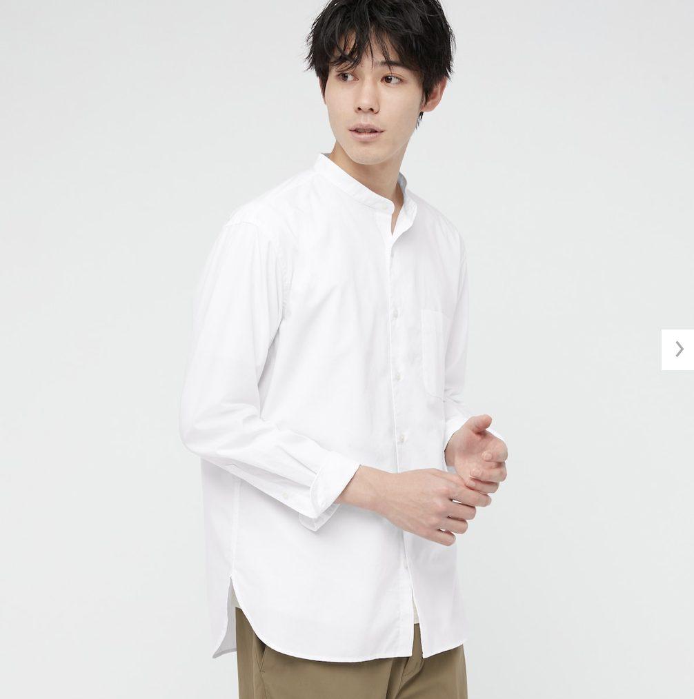 2021ssエクストラファインコットンブロード スタンドカラーシャツのスタイル1