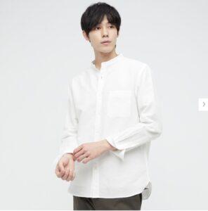 2021ssリネンコットンスタンドカラーシャツのスタイル3